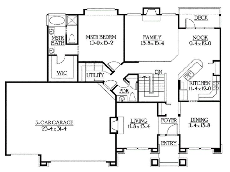 Classic rambler floor plans by builderhouseplans http for House plans no basement