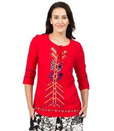 Buy Red embroidered Earth tunics tunic online