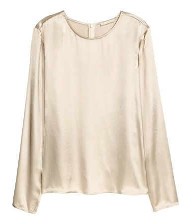 Light beige. Straight-cut, long-sleeved blouse in woven fabric with a sheen. Concealed zip at back of neck.