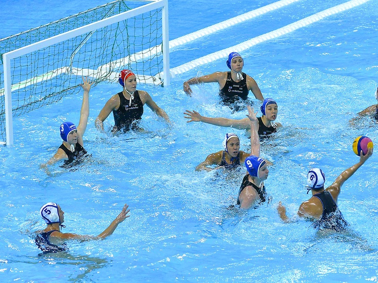Watering Well - USA's Margaret Steffens shoots and scores vs. Hungary during a Water Polo International Invitational event at the Water Polo Arena in Olympic Park at Stratford London.