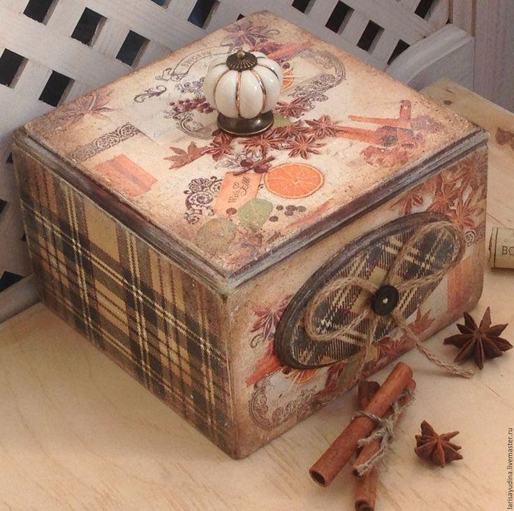 Купить Короб для специй Глинтвейн - коричневый, декупаж работы, короб для хранения, короб для кухни