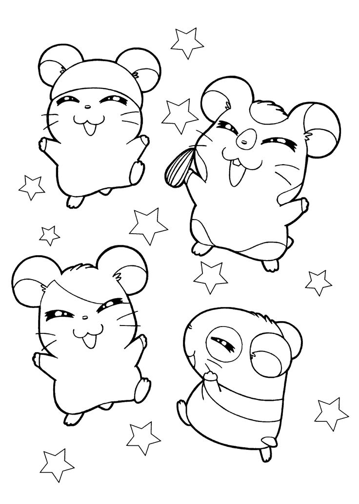 Hamster Hamtaro anime coloring pages for kids, printable
