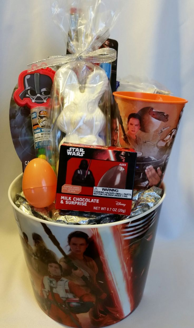 25 best easter gift baskets images on pinterest easter gift star wars themed easter basket chocolate covered pretzels chocolate bunny by bhuffmancreations on etsy negle Images