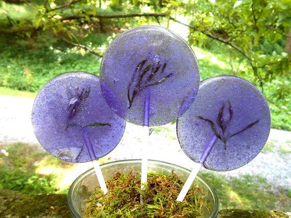 Lavender Lollipops, Edible Lavender Sprigs, Herbal Calming, Wedding Favors, Teas, Dinner Parties