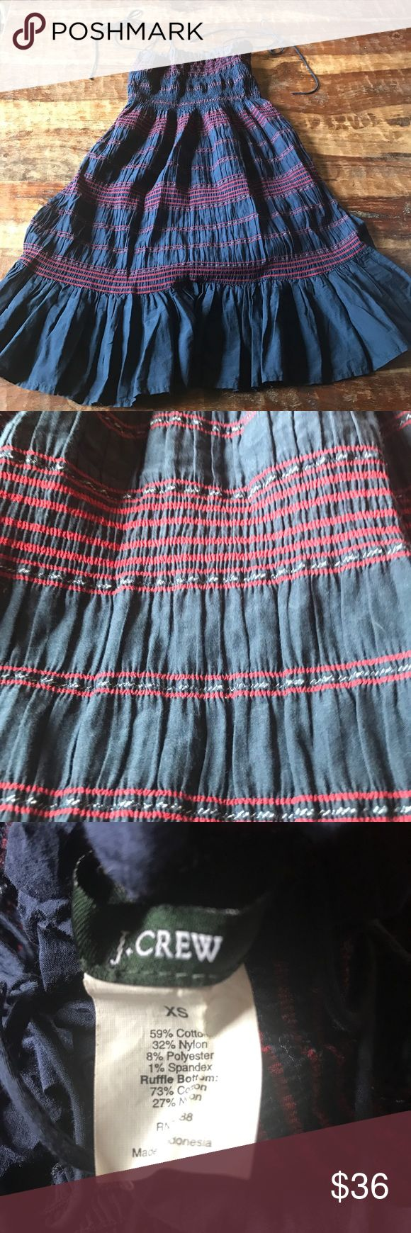"J. Crew Boho Dress Super cute navy dress with red stitching.  Smocked top with a boho look. In excellent condition. Can be worn with or without the straps. Dress 26"" from the chest down. J. Crew Dresses"