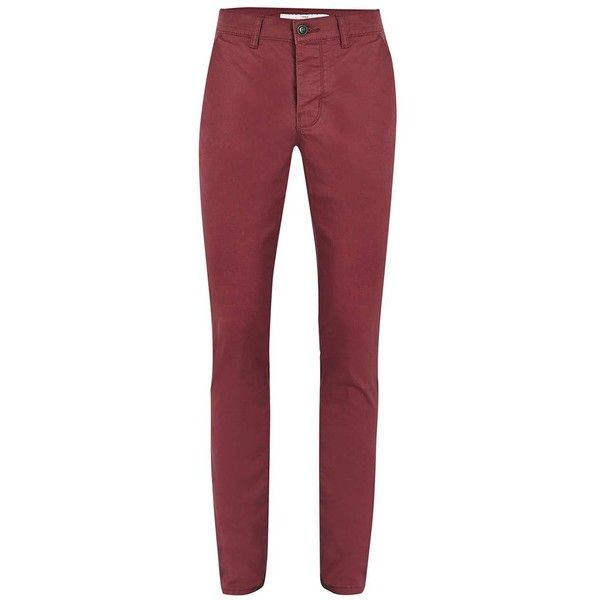 TOPMAN Burgundy Stretch Skinny Chinos ($12) ❤ liked on Polyvore featuring men's fashion, men's clothing, men's pants, men's casual pants, red, mens skinny pants, mens chino pants, mens skinny chino pants, mens red chino pants and mens skinny fit dress pants