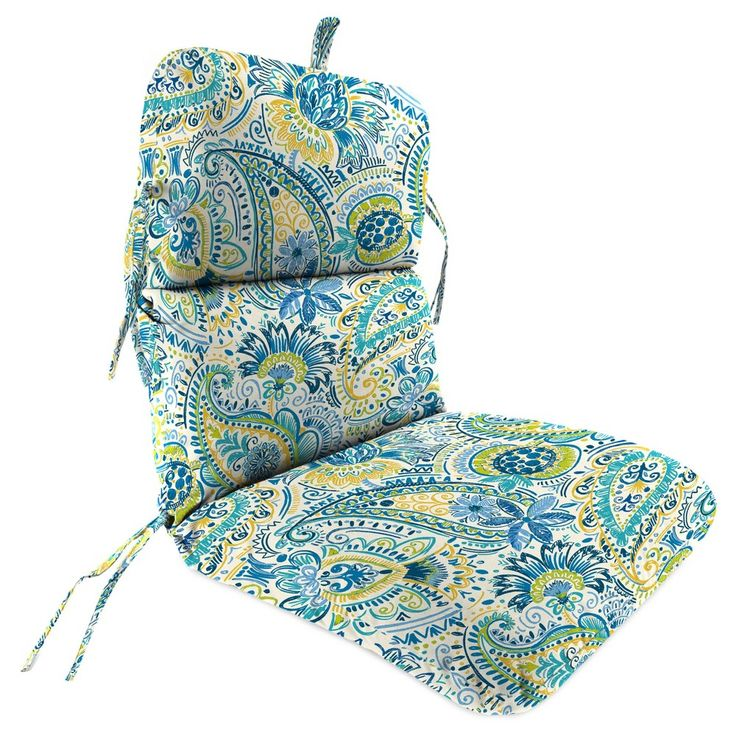Outdoor Knife Edge Dining Chair Cushion In Gilford Baltic - Jordan Manufacturing,