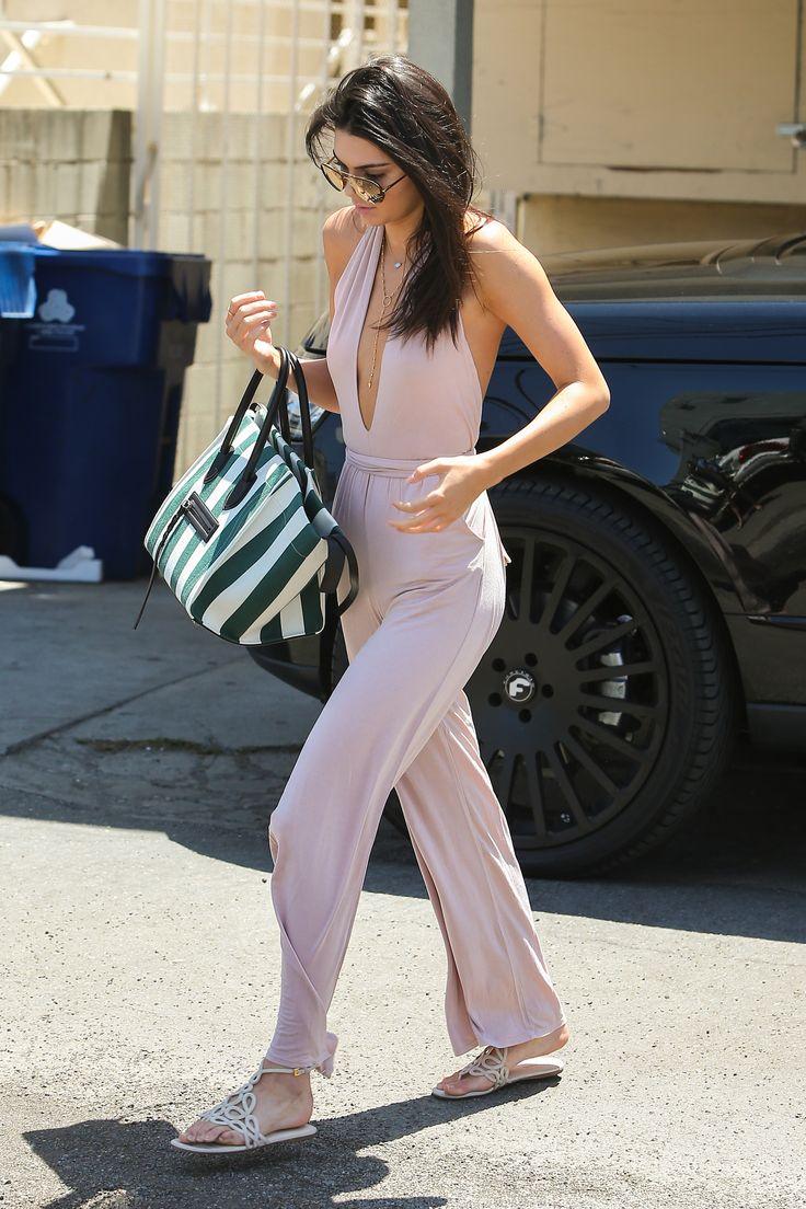 In Hollywood wearing a blush Krisa jumpsuit.    - HarpersBAZAAR.com