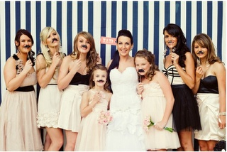 nautical wedding backdrop. Love the backdrop. Hate the mustaches.