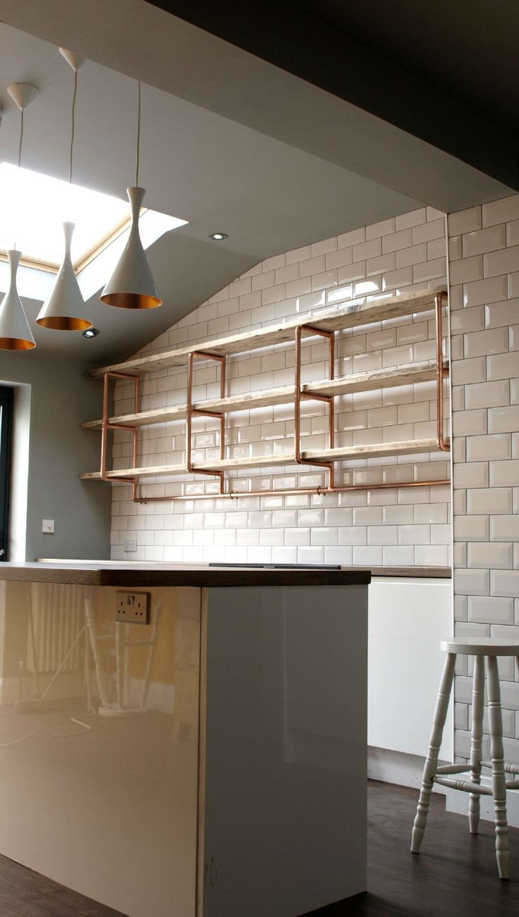 Three tier, long shelving unit for kitchen. 28mm copper pipe reclaimed pine boards