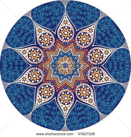 Ornamento indio, modelo calidoscópico floral, mandala. - acción vector