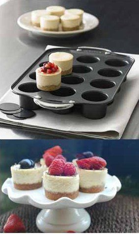 Prepare yummy & mouth-watering cheesecakes with this nonstick mini cheesecake pan. It can produce up to 12 cheesecakes at once and the removable bottom makes the process easier to release pancakes easily. It's easy to clean up for nonstick coating and it's also perfect for muffins, tartlets and coffee cake. Price $30