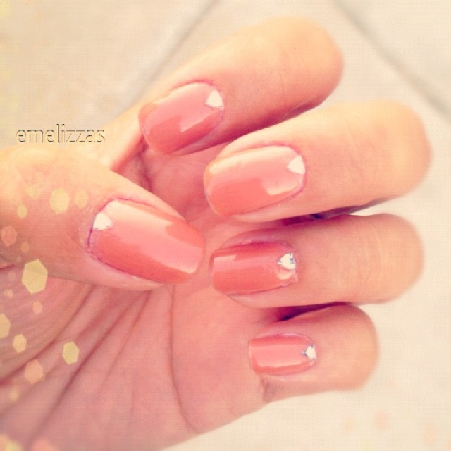 Peachy Bling Nails Nails Pinterest Nails