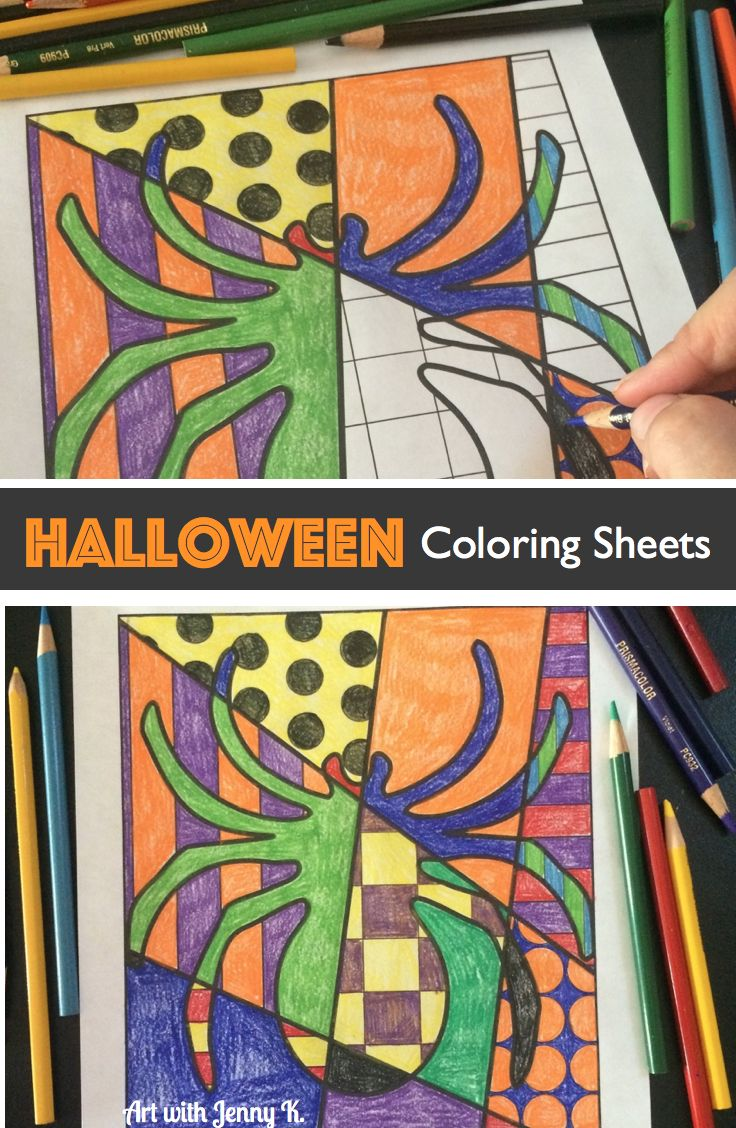 10 Halloween Art Lessons For Kids Coloring PagesColoring