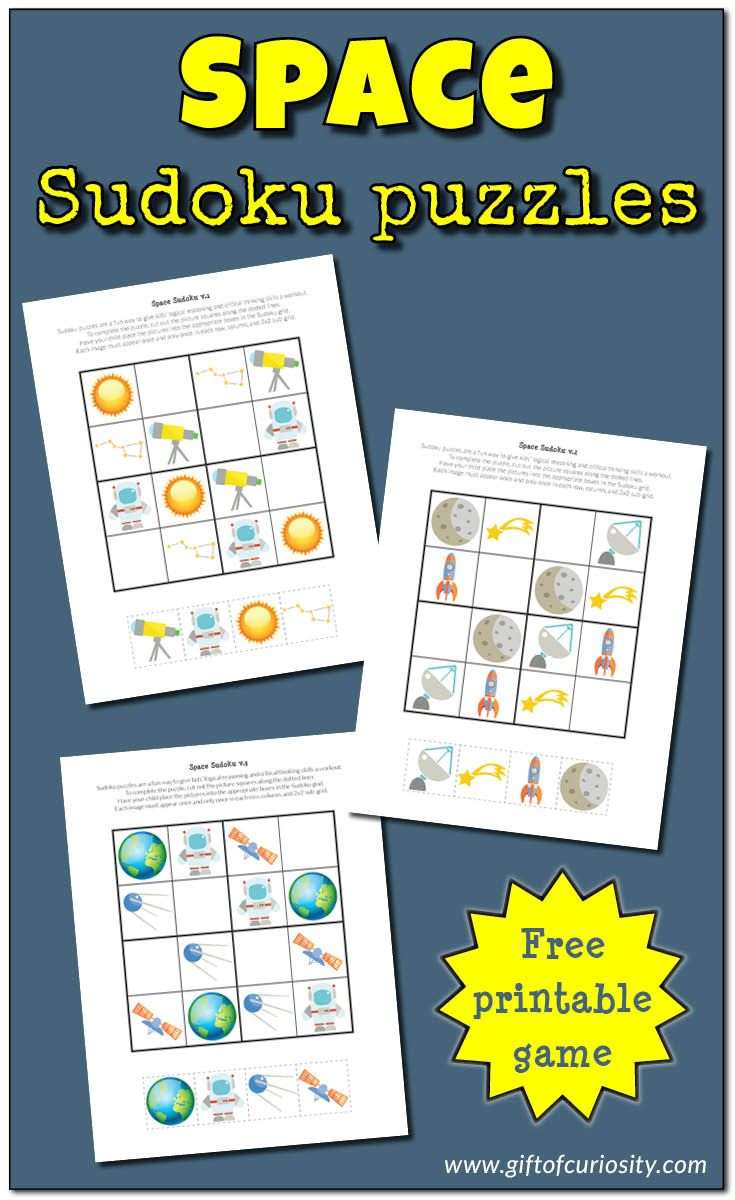 Free printable Space Sudoku Puzzles for space loving kids in preschooler through second grade. What a great way to stimulate critical thinking skills! || Gift of Curiosity