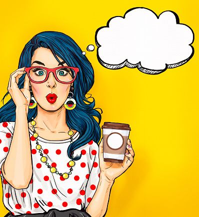 Pop Art girl with coffee cup in glasses vector art illustration
