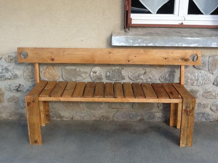 Banc en bois de palette construction pinterest - Construction banc en palette ...