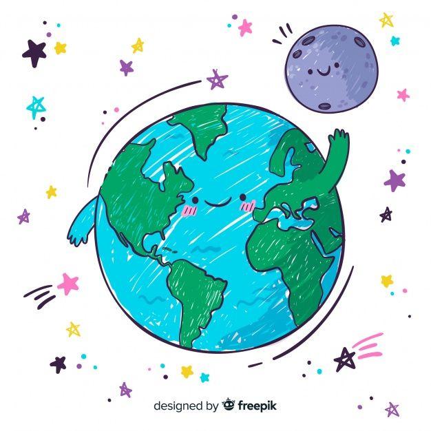 Composicion Adorable Del Planeta Tierra Dibujada A Mano Vector Gratuito La Tierra Dibujo Planeta Dibujo Planeta Tierra