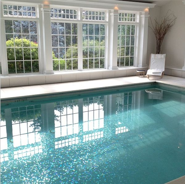 Pool at the Mayflower Inn with  glass tiles on the bottom, beautiful