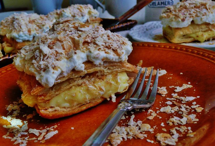 Napoleon, flaky layers of pastry filled with homemade pastry cream and topped with vanilla whipped cream | persianmama.com