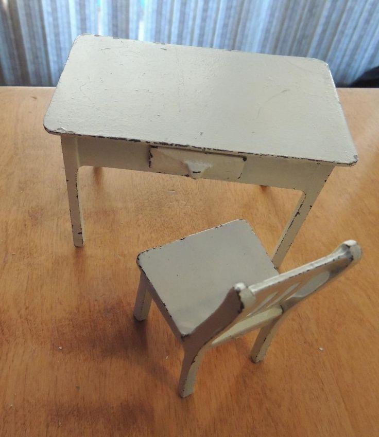 Arcade Cast Iron Desk With Drawer U0026 Chair Dollhouse Furniture | EBay