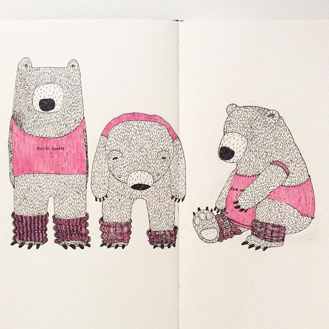 Pilates bear! #illustration #drawing #doodle #moleskine #bear #pilates #pilatesbear #micron #creativebug