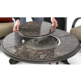 42-Inch Chat Propane Gas Fire Pit Table With Granite Top And Lazy Susan By Outdoor…