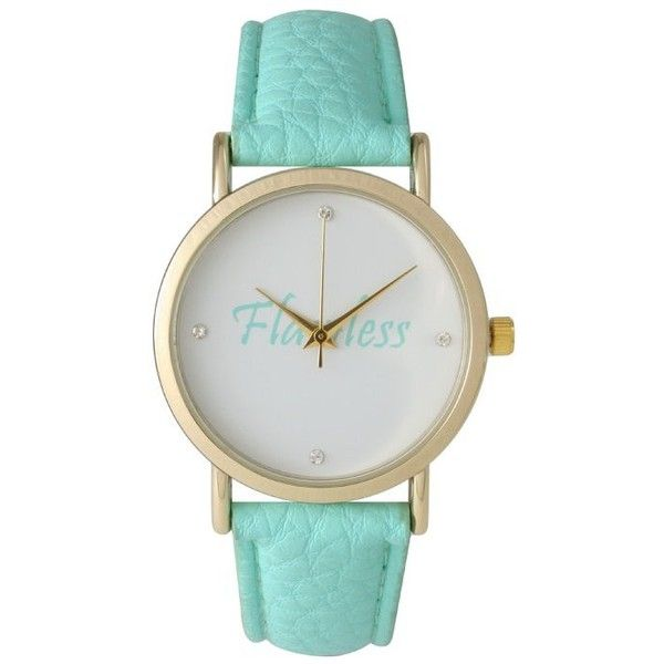Olivia Pratt 'Flawless' Leather Strap Watch (33 CAD) ❤ liked on Polyvore featuring jewelry, watches, accessories, mint, mint jewelry, leather-strap watches, mint green jewelry, water resistant watches and white faced watches