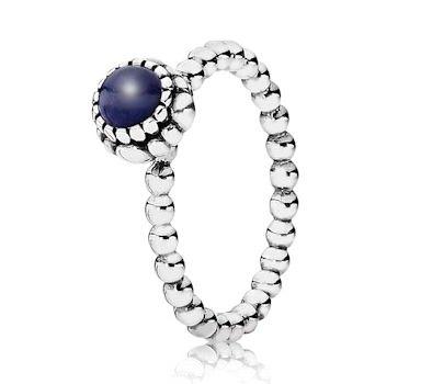 Pandora Silver & Lapis Lazuli September Birthstone Ring 190854LP - £40.00