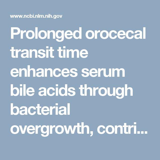 Prolonged orocecal transit time enhances serum bile acids through bacterial overgrowth, contributing factor to gallstone disease.  - PubMed - NCBI