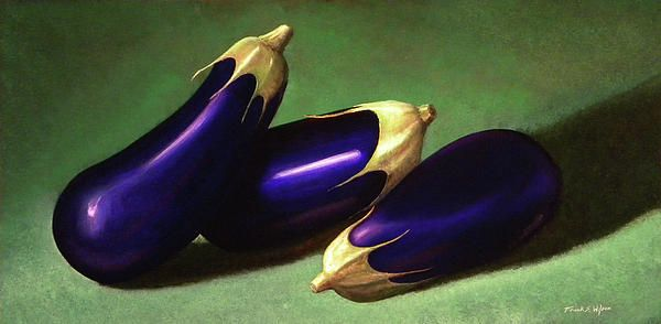 """""""THREE EGGPLANTS"""" ~ is a 12 x 24 inch original oil painting on a hardboard panel. $1,400 framed.  Museum Quality Prints are available in eight sizes on your choice of two canvases, five canvas wraps, seven different papers, 1/4 inch acrylic and even on 1/16 inch polished metal!  5 x 7 inch greeting cards are also available."""
