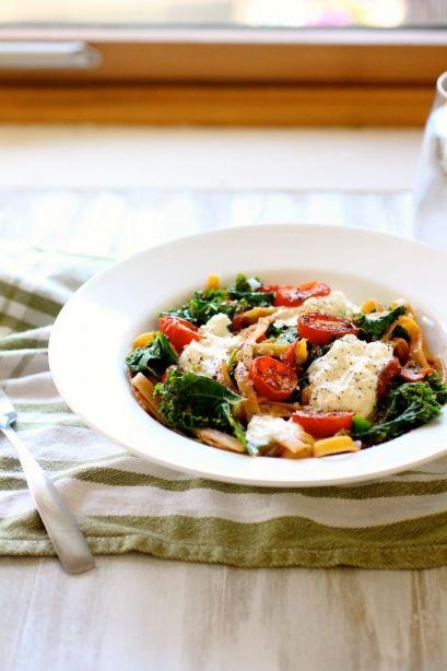 Fettucine with Seared Tomatoes, Kale, and Burrata