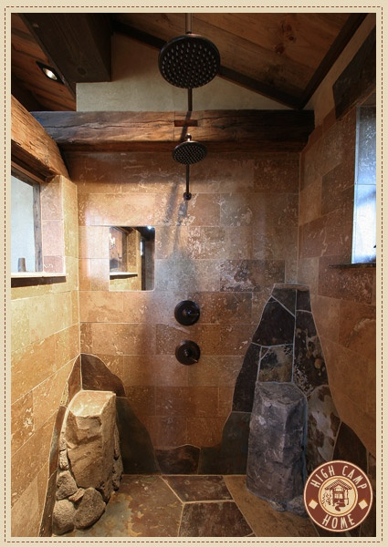 Rustic Stone. Double shower head. Wooden beams. Love.