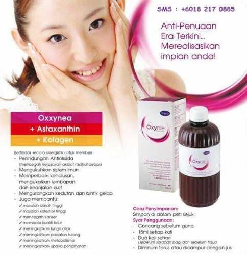 OXYNIE - Anti Penuaan Era Terkini...    mengembalikan keremajaan anda!         Gabungan:        Oxxynea    Diekstract daripada 22 jenis buah-buahan dan sayur-sayuran        Astaxanthin    Satu antara molekul Anti-Penuaan yang paling kuat di dunia. Oxygen yang terhebat diantara molekul anti-penuaan 6,000 kali lebih kuat dari Vitamin C.        Kolagen    Unsur-unsur utama kulit manusia.        Promosi pengenalan $75 sebotol(500ml) - Harga Biasa $108         Pengambilan 15ml pagi dan malam
