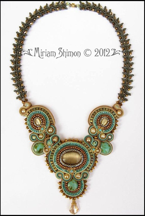Soutache necklace in Mint Cream Chocolate and by MiriamShimon