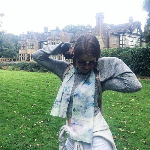 The lovely @jademaree8 wearing our Aqua Mist silk scarf 🌿 ready for autumn! 🍂🍁our silk scarves are available online www.sarahblythe.com/shop