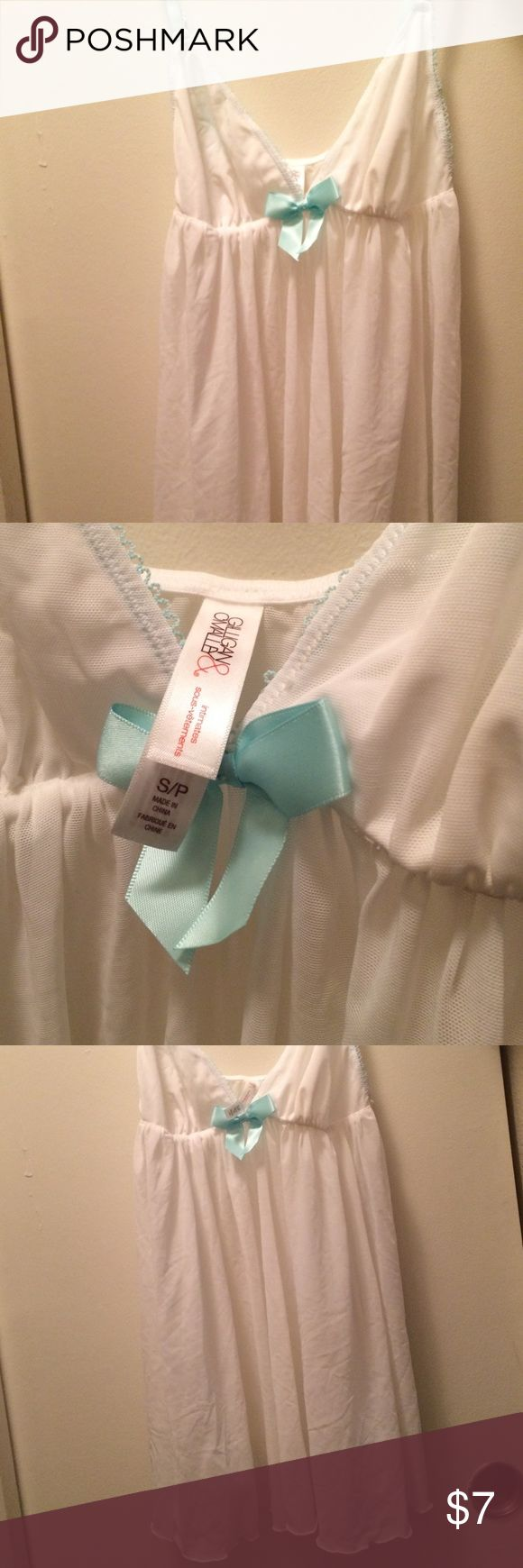 White and turquoise nightie NEVER WORN. It was a gag gift for my birthday and it sat in my pajama drawer for a few months Gilligan & O'Malley Intimates & Sleepwear Chemises & Slips