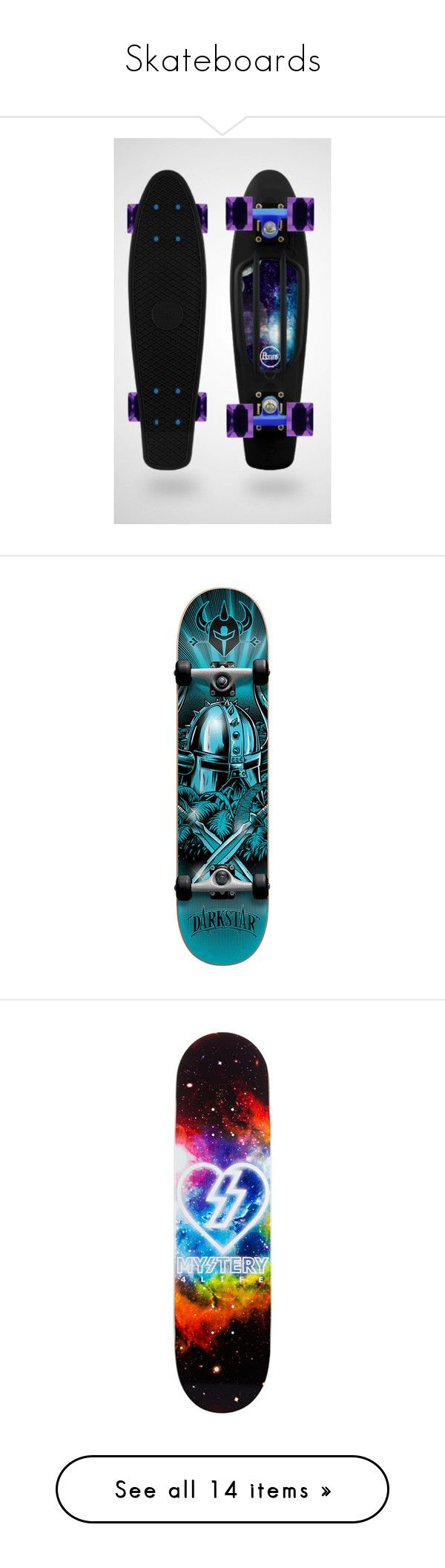 """Skateboards"" by shadowfang52 on Polyvore featuring skateboards, accessories, other, boards, penny boards, fillers, backgrounds, skateboard, misc and hobbies"
