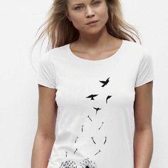 """T-shirt """"pissenlit hirondelle"""" pour femme de taille 34 à 48 - disponible en plusieurs coloris"""