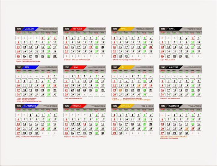 Kalender 2015 lengkap disertai