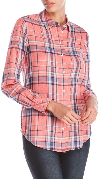 Elizabeth and James Pink Plaid Shirt