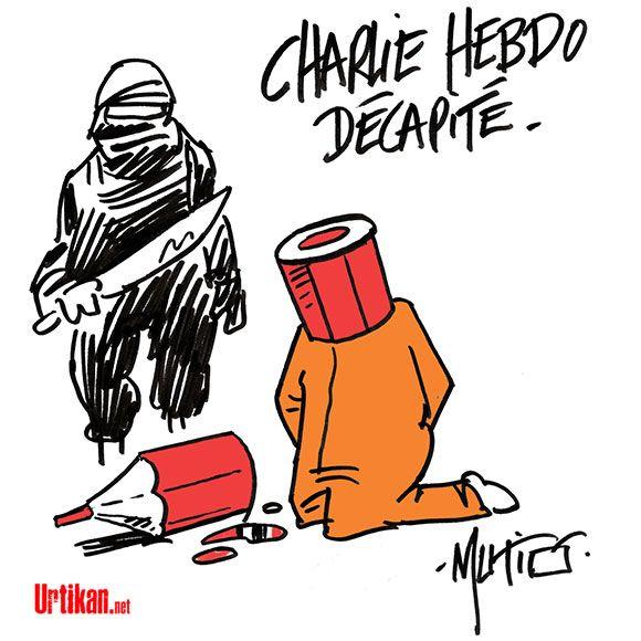Charlie : Urtikan.net - le journal satirique qui gratte là où ça démange. Chaque matin, retrouvez le Dessin du Jour. Une vision différente de l'actualité, de nombreux dessins, du mauvais esprit, et beaucoup d'humour.