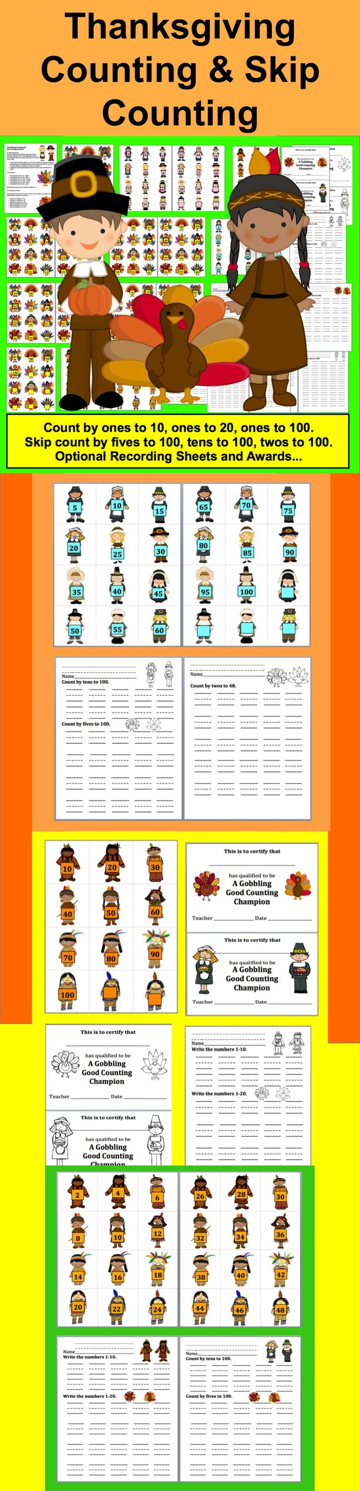 $ Thanksgiving Counting and  Skip Counting Activities -  32 Page Download - Turkeys, Pilgrims and Native Americans make this activity perfect for a Thanksgiving review of counting and skip counting by ones, twos, fives and tens to 100.
