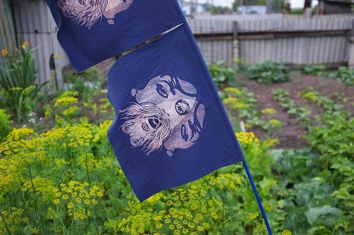 Masha Lamzina: Two Blue Double-Printed Flags