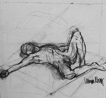 Life drawing London lying male by ImaginaryLea  Linnéa Ahlberg