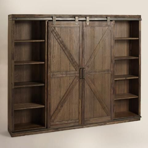 Wood Farmhouse Barn Door Bookcase | World Market                                                                                                                                                                                 More