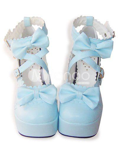3 1/2'' Chunky Heel 2'' Platform PU Lolita Shoes - Milanoo.com