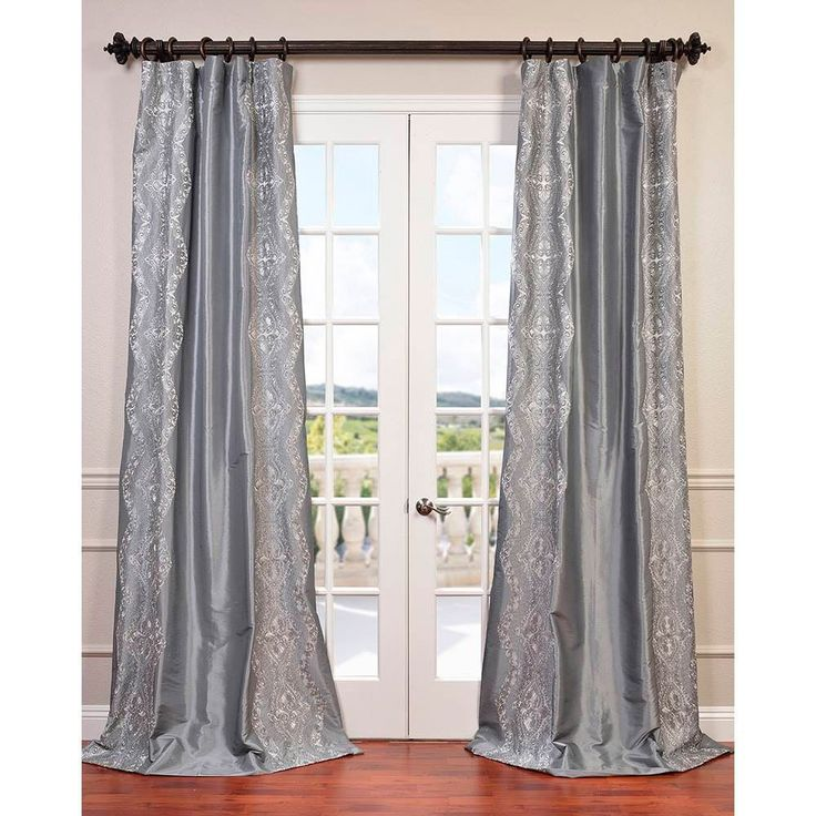 Exclusive Fabrics Chai Embroidered Faux Silk Curtain Panel (Silver 108L), Size 50 x 108