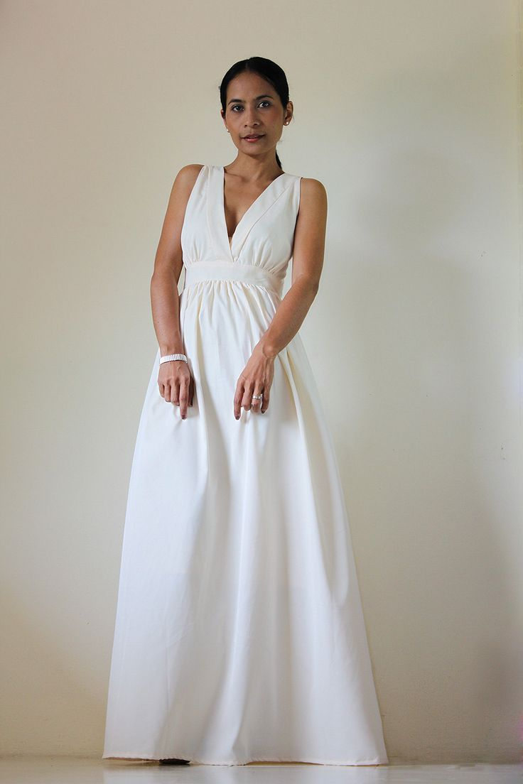 Cream Maxi Dress Classy Elegant Deep V-Shape Sleeveless Formal Long Evening Gown: Keerati My Endless Love  Collection. $69.00, via Etsy.
