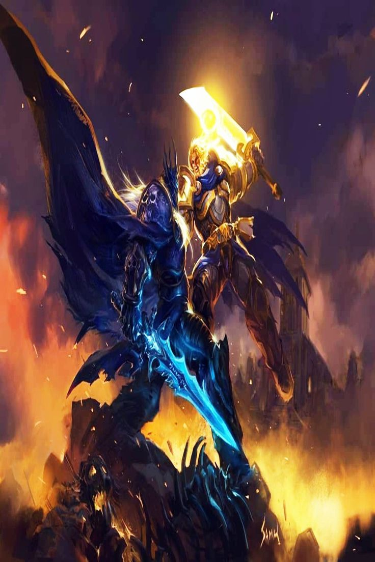 Tirion Fordring Vs Arthas, the Lich king 🌠🌠💥💥🔥. in 2021 | World of warcraft paladin, Warcraft ...